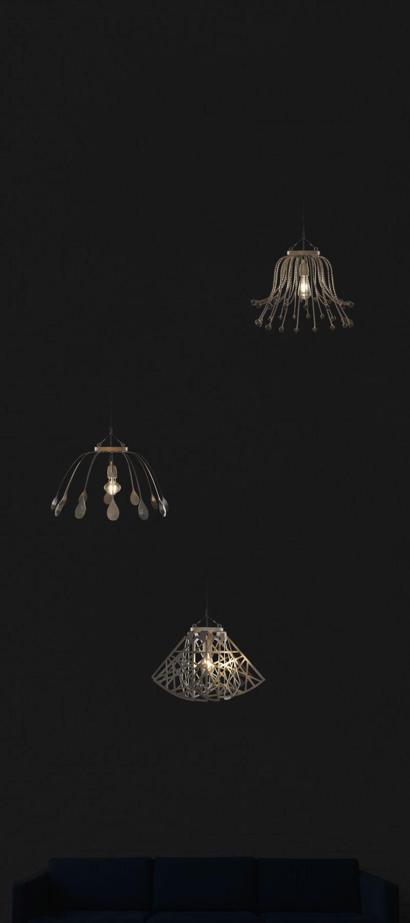 Lámparas CROÓ encendidas suspendidas en habitación oscurecida
