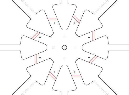 Vaciados centrales y segmentos de doblado en las versiones iniciales de Rogal