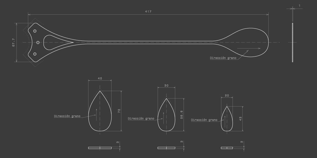 Diseño del perfil y de las cargas de la lámpara CROÓ Doce Lágrimas