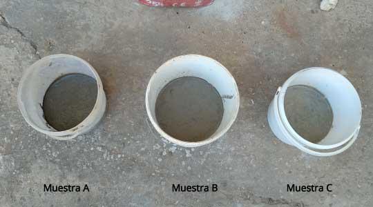 Diferentes muestras de cemento y mortero tras la aplicación en el molde
